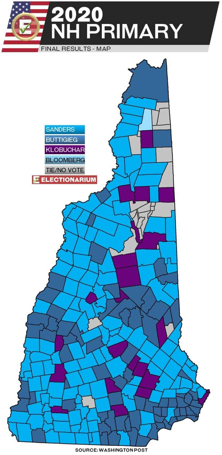 2016 New Hampshire primary results - Dem map