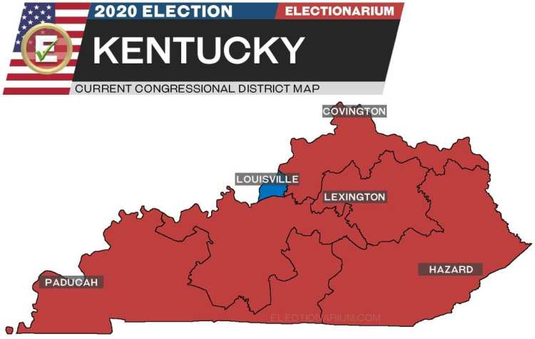 2020 Kentucky House Races - pre-election map