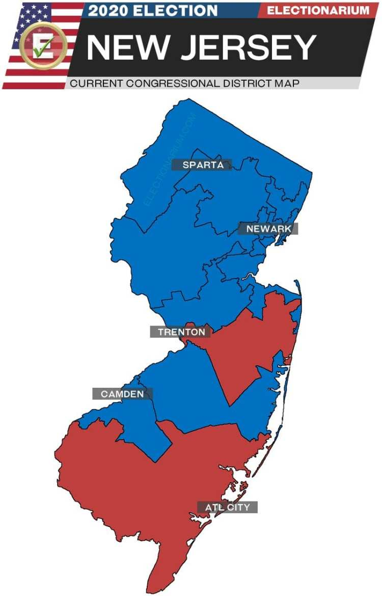 2020 New Jersey House Races - pre-election map