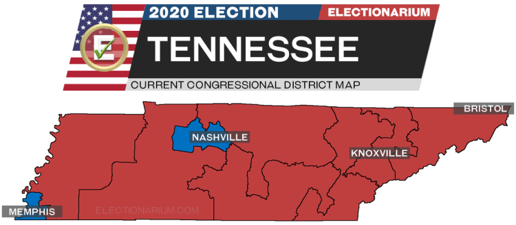 2020 Tennessee House Races - pre-election map