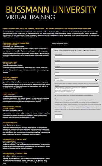 Bussmann University Registration Form
