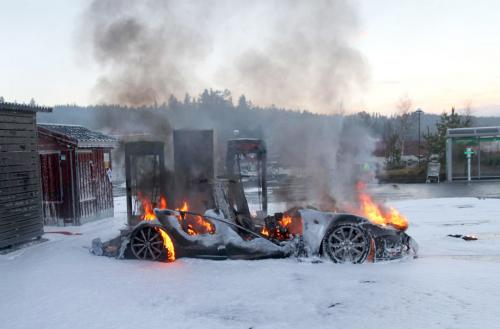 Tesla bursts into flames 1