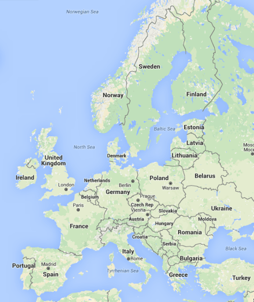"Tesla Destination Chargers in North America in March 2016 - also know as ""map of Europe"""