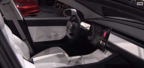 Model 3 prototype interior