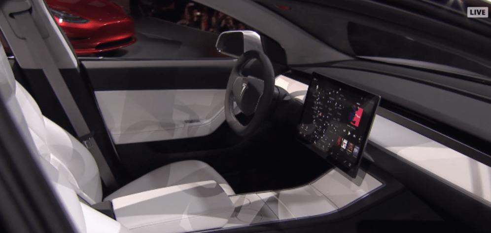 Model 3 prototype interior