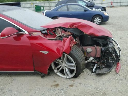 model s damaged collision 2