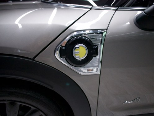 "MINI Countryman Plug-in Hybrid - Charge door with old ""MINI E"" logo"