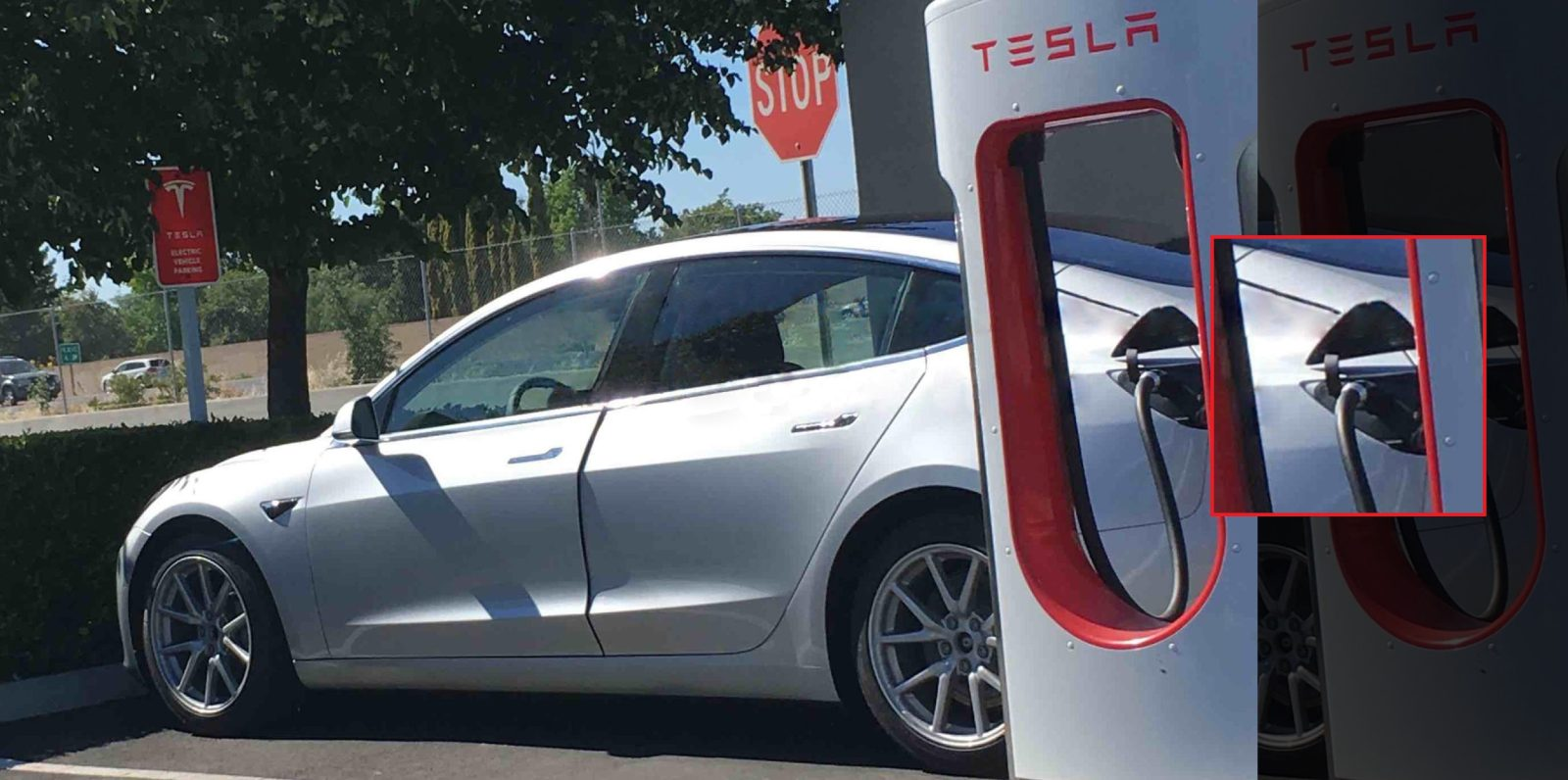 First look at Tesla Model 3's charge port while ...