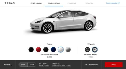 tesla Model 3 config 3