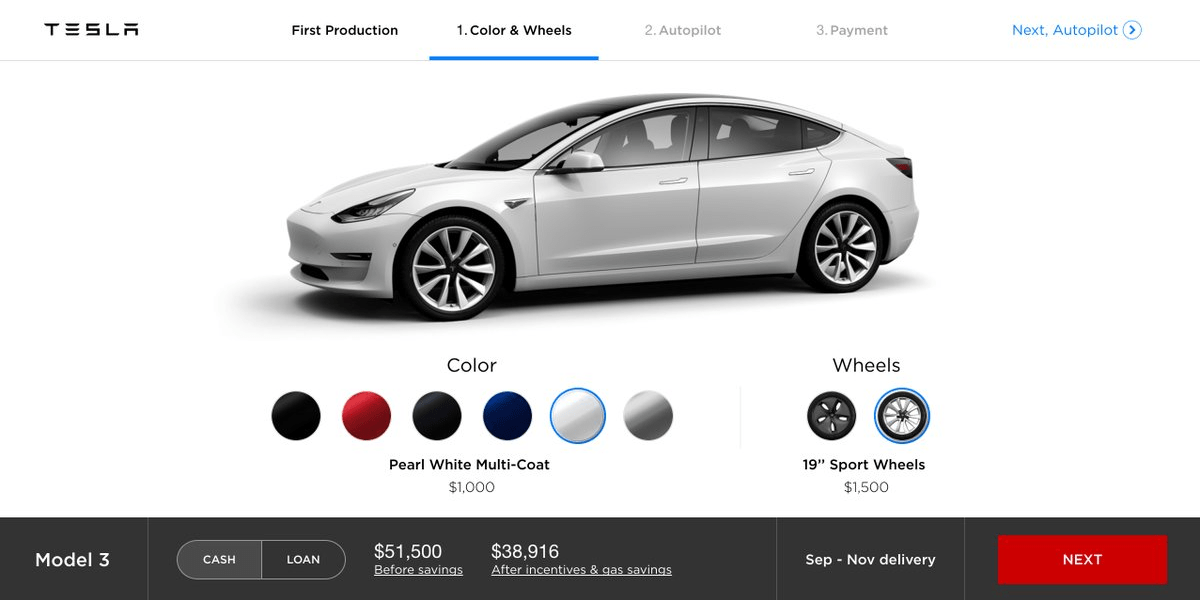 First look at the Tesla Model 3 online configurator