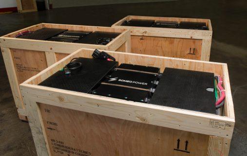 Romeo Power forklift battery packs ready for customer shipment