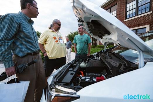 103 engine bay motor space hood open New Nissan Leaf 2018 National Drive Electric Week Bridgewater NJ-60