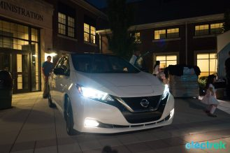 105 lights on dark night headlights New Nissan Leaf 2018 National Drive Electric Week Bridgewater NJ-62
