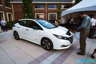 12 New Nissan Leaf 2018 side view charge lid open National Drive Electric Week Bridgewater NJ-38