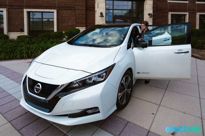 5 New Nissan Leaf 2018 front view door open National Drive Electric Week Bridgewater NJ