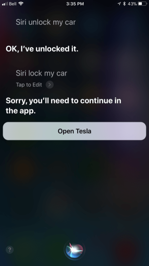 tesla siri integration 2