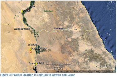 Figure 3: Project location relative to Answan and Luxor