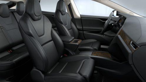 tesla black and beige interior