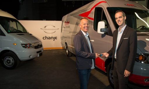 Bryan Hansel, CEO, Chanje (L) hands over the first Chanje electric truck to Chris Nordh, Senior Director, Ryder (R) at an event in New York on Thursday, November 2, 2017 to announce Ryder ordered 125 Chanje electric trucks. Chanje is the first all-electric truck delivered at a mass scale in the U.S..