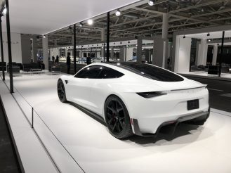 Tesla white roadster 3