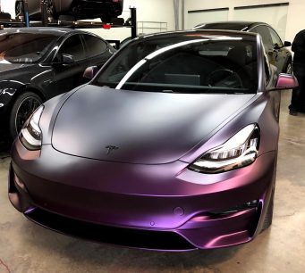 Tesla Model 3 purple bumper 2