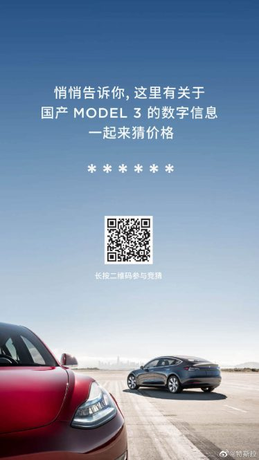 Tesla Model 3 China price