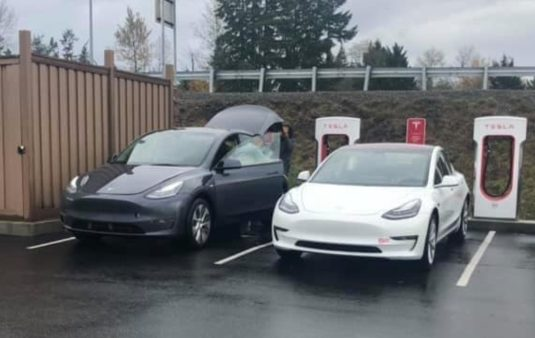 Tesla Moel Y next to MOdel 3