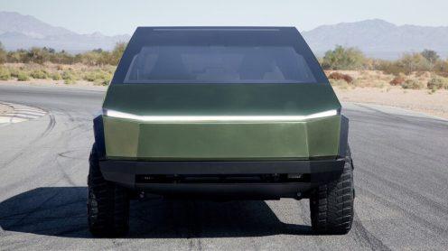 Tesla Cybertruck green front center