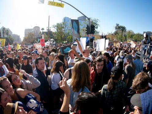 crowd climate strike los angeles fisheye