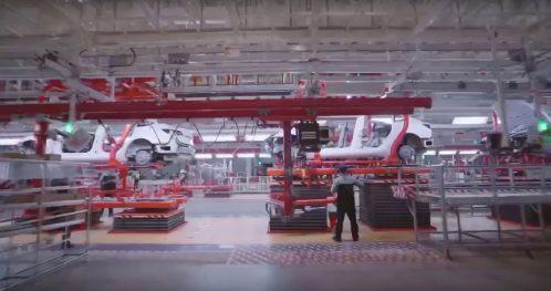Tesla Gigafactory 3 body line
