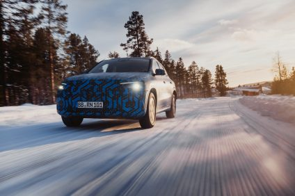 Mercedes-Benz EQA prototype during the winter test in Sweden around Arctic Falls.