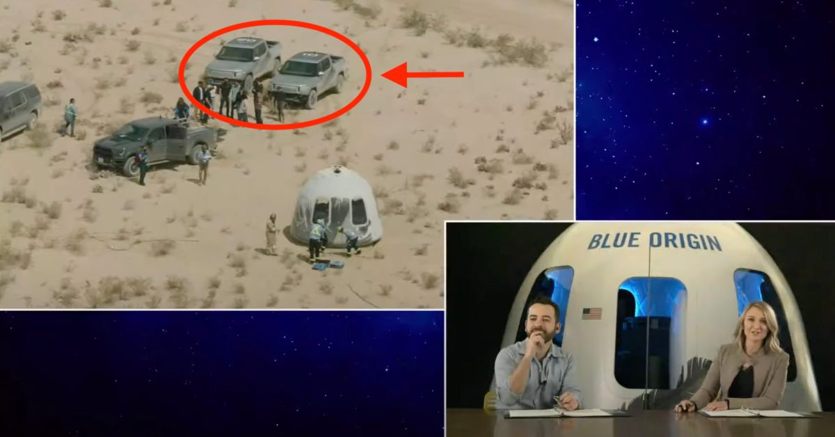 Rivian R1T electric pickup truck fleet used in spaceship recovery by Blue Origin - Electrek