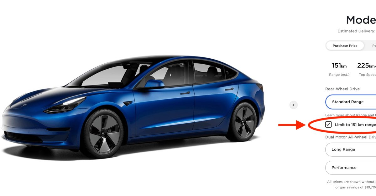 Tesla starts advertising Model 3 with 93 miles of range on its website in Canada - Electrek