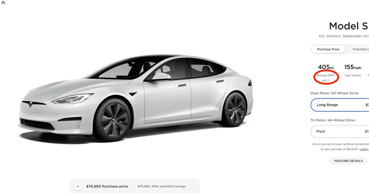 Tesla downgrades range of brand new Model S Long Range - Electrek