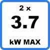 Max 2x3kW - Duo-oplaadstation met kabels (2 x 3.7kW)