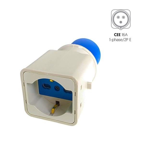 CEE (blauw) stopcontact naar Schuko 16A adapter