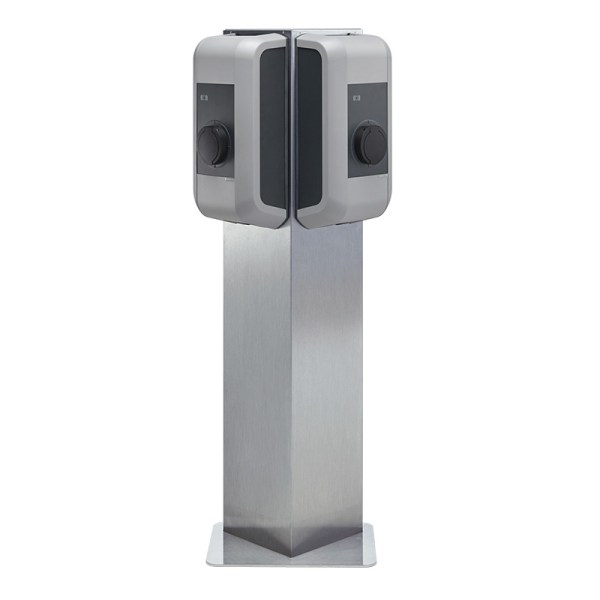 KEBA triangular pedestal/stand for two wallboxes, in stainless steel - 99839