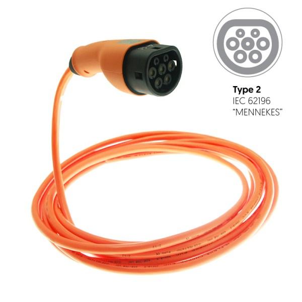 Connecteur Type 2 avec câble monophasé - 7,4kW