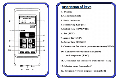 Functions of keys of shock pulse tester T 2000