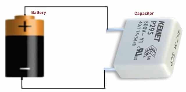 Capacitor connected to a battery