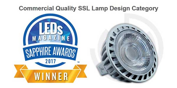 GREEN CREATIVE's MR16 8.5W High CRI LED Lamp Selected as a Winner of LEDs Magazine Sapphire Awards