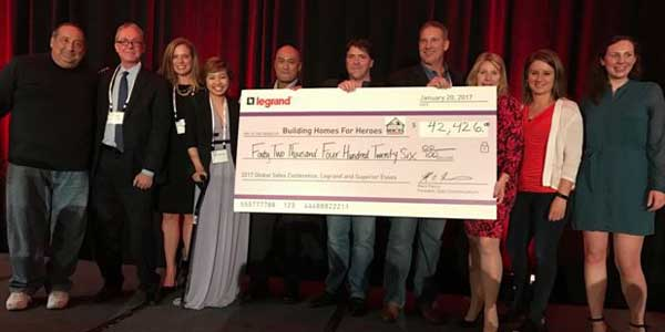 Legrand North America Helps Wounded Veterans with $161K Donation to 'Building Homes for Heroes' Program