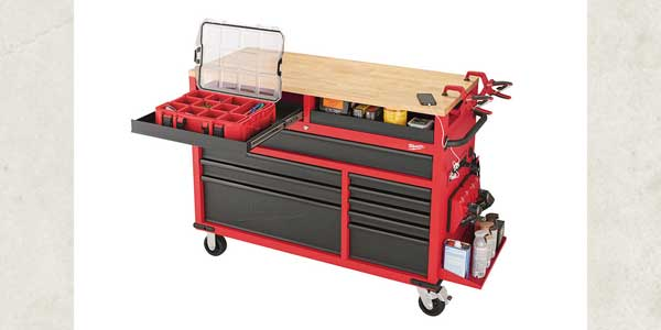 "New Milwaukee 52"" Mobile Work Station Features Raised Surface with Pullout Trays"
