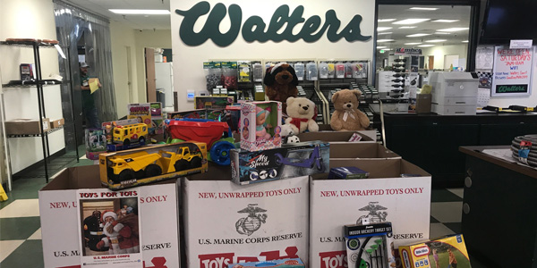 Walters collected over 12 boxes for Toys for Tots Foundation