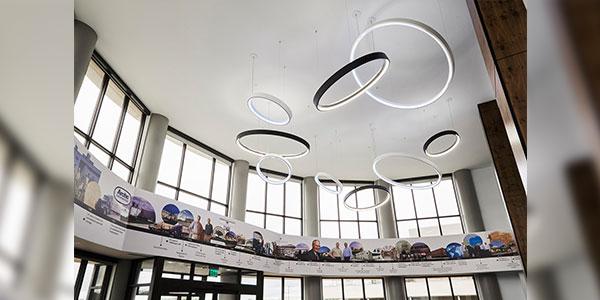 Lobby Illumination Highlights the Brand at Food Redistributor Headquarters