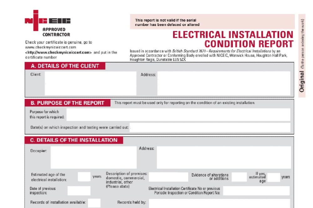 EICR - Electrical Installation Condition Report