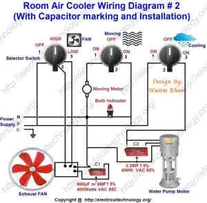 Room Air Cooler Wiring Diagram # 2 (With Capacitor