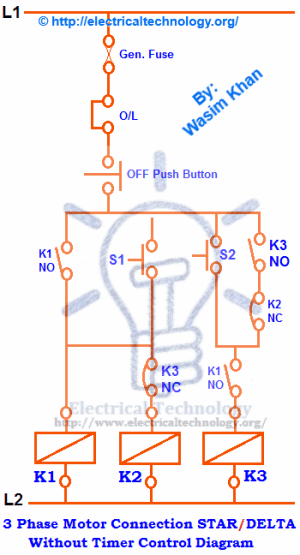 Three Phase Motor Connection STARDELTA Without Timer Power & Control Diagrams  Electrical