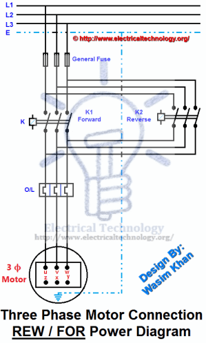 REV  FOR ThreePhase Motor Connection Power and Control