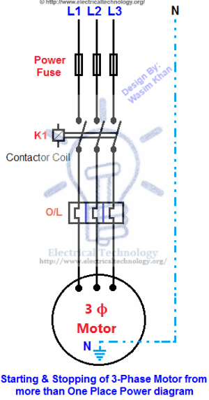 Starting & Stopping of 3Phase Motor from more than One